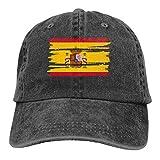 Desconocido Hombres Mujeres Pantalones de Mezclilla Ajustables Gorras de béisbol Gorra de Hiphop con Bandera de España