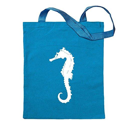 Kiwistar Seepferdchen Seehorse Tragetasche Baumwolltasche Stoffbeutel Umhängetasche Langer Henkel