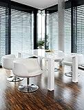 Esstisch-Gruppe weiß Hochglanz 180x90 cm recht-eckig mit 6 Studio 54 Design Stühlen | Luca | Essgruppe weiss 6 Stühle in weiß | Design Tischgruppe mit Ess-Tisch weiß lackiert 180cm x...