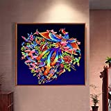 nzhma Decoraciones navideñas Pintura de Diamante Pavo Real Cien pájaros hacia la Figura de Phoix Phoix Pieza pequeña Taladro de Palo Piedra de ladrillo de Diamante Completo 40X50cm