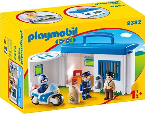 Playmobil- 1.2.3 Comisaría Policía Maletín Juego con Accesorios, Multicolor (9382)