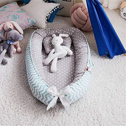 KCBYSS Nido de bebé de 85 * 50 cm para recién nacidos Cuna con almohada Cuna portátil, 100% algodón puro 0-36 meses Parachoques de cama biónicos para acurrucarse Nidos de bebé-Gray_star