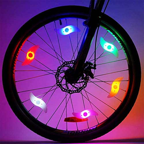 Fietsspaaklicht, led, kleurverandering, 3 modi, fietslamp, neon flitslicht, waterdicht, 6 stuks 3.5-6.5 Kleur: zwart/bruin,