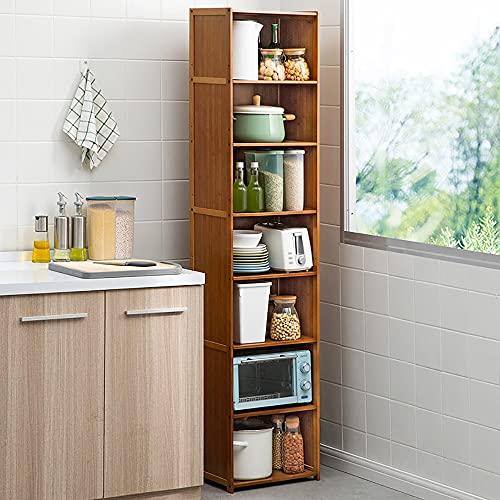LOHOX Mueble de Almacenamiento de Bambú Armario Baño Parte Inferior con Diseño de Puerta de Persiana Paneles Laterales y Posterior Sellados con Estantes y Organizador de Almacenamiento