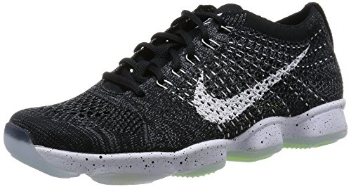Nike Wmns Flyknit Zoom Agility, Zapatillas de Tenis Mujer, Negro (Black/White-Dark Grey-Volt), 38