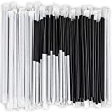 DuraHome Black Plastic Straws Individually Wrapped 1000 Pack - 8 inch Drinking Straw, BPA Free - Restaurant Style Disposable Straws, Bulk Set