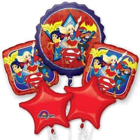 DC Super Hero Girls Birthday Balloon Bouquet - Wonder Woman, Bat Girl, Super Girl