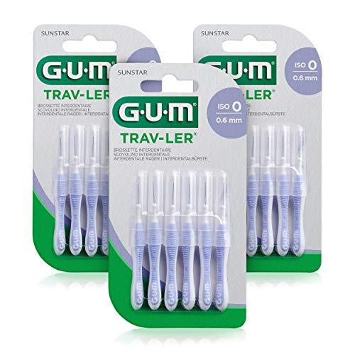 GUM TRAV-LER Interdentalbürsten/ISO Größe 0: 0,6 mm/für eine gründliche Reinigung aller Zahnzwischenräume / 3x 6 Stück