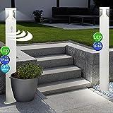 2er Set LED Außen Sockel Steh Lampen Bewegungsmelder Garten Veranda Edelstahl Stand Leuchten weiß