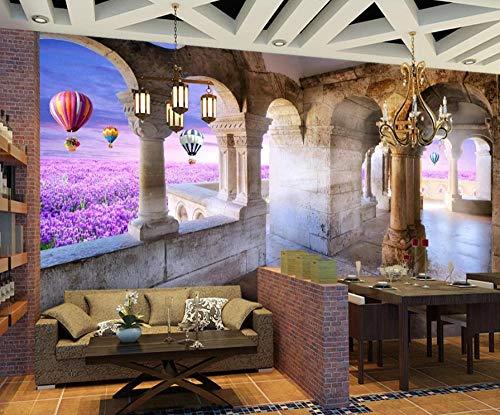 Fotobehang 3D gebouw lavendel wandafbeeldingen vliesbehang wandbehang wandschilderij Wall Mural Wallpaper modern design wanddecoratie voor slaapkamer woonkamer kinderkamer 450 cm x 300 cm.