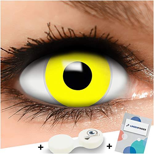 FUNZERA Farbige Kontaktlinsen Gelb, in gelb inklusive Kontaktlinsenbehälter, 1 Paar Linsen (2 Stück)