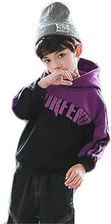 (グードコ) キッズ フード付き 男の子 裏起毛パーカー スウェット プルオーバー ストライプ 厚手シャツ ゆったり スポーツ ダンス ヒップホップ