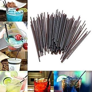 St. Lun 100pcs Black Plastic Mini Cocktail Straws Celebration Drinks Party Supplies Tool