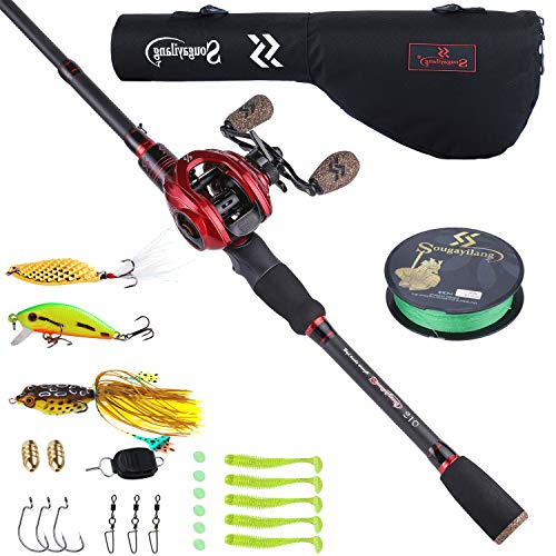 Sougayilang Baitcaster Combo Telescopic Fishing Rod and Reel Combo, Ultra Light Baitcasting Fishing Reel for Travel Saltwater Freshwater with Lures-6.9FT & Left Handle Reel with Bag