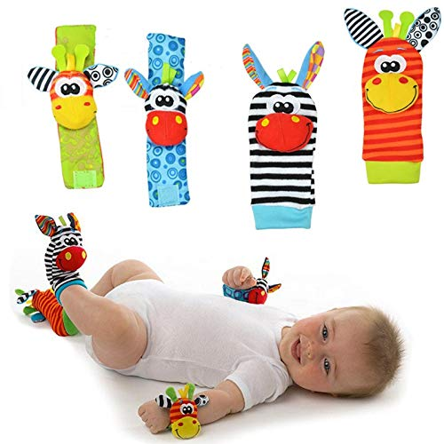 Play It Deals Foot Finders & Wrist Rattles for Infants Developmental Texture Toys for Babies & Infant Toy Socks & Baby Wrist Rattle – Newborn Toys for Baby Girls & Boys. (Includes 4 rattles)