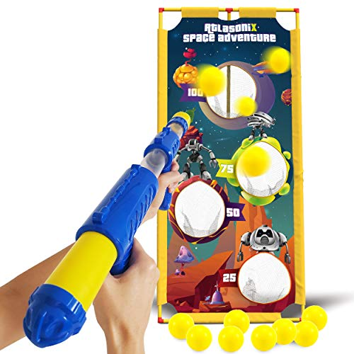 Atlasonix Shooting Game Toy Foam Ball Gun w/ Target - Gift for Boys Age 4, 5, 6, 7, 8, 9, 10+ Years Old - Foam Ball Popper Gun, Compatible with Nerf Toy Guns