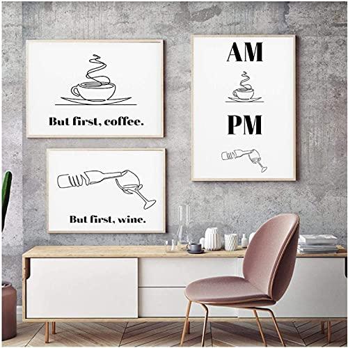 Estilo nórdico arte de línea fina impresión de café cartel de vino impresión de cocina cuadro de pintura moderna decoración de la pared de la sala de estar 3x60x80cm sin marco