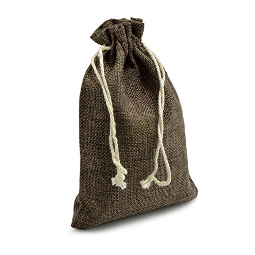 Ganzoo 24er Set Jutesäckchen für Adventskalender zum selbst befüllen, 17,5cm x 12,5cm, Jutebeutel, Stoffbeutel, Natur Säckchen, Geschenksäckchen, Sack, Beutel – Marke (Dunkelbraun)