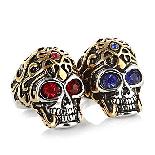 Anyeda Joyas de Acero Inoxidable Anillos Retro Anillo Gótico de Hombres Anillo Hombre Egipto Cráneo Anillos Rojo Tamaño 22