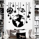 Etiqueta de la Pared Cohete Espacio calcomanía de Pared Estrella Pegatinas niño jardín de Infantes decoración de la habitación Vinilo Familia extraíble Vida