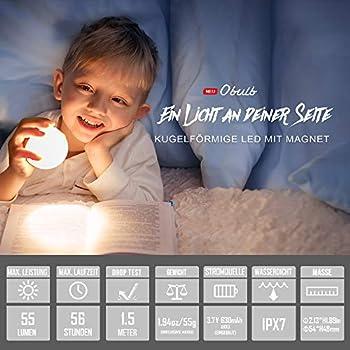 olight Obulb petite veilleuse rechargeable lampe d'ambiance lampe de chevet lampe boule lampe de table ampoule boule lumineuse veilleuse pour enfant, Rouge