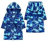 Jolly Rascals Jungen Bademantel mit Kapuze, weich, Marineblau/Camouflage/Dunkelblau, für Kinder von 2/3 / 4/5 / 6/7 / 8/9 / 10/11 / 12/13 Jahren Gr. 3-4 Jahre, blau