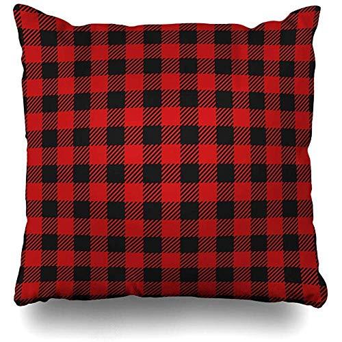 Throw Pillow Case 45x45 cm Shirt Plaid Stripes Red Tile Black Lumberjack Kilt Decor Checkered Fashionable Woodcutter Textures Cushion Cover