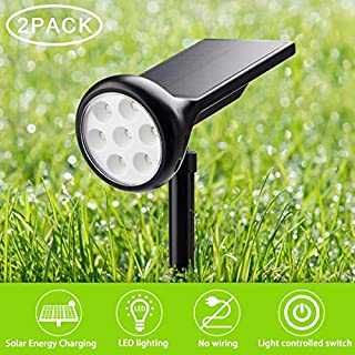 MIXBIRLY Spotlights Outdoor Changing Multiple Color Mode Solar Garden Lights for Landscaping Pathway, Yard, Shrubs and Lawn 2 Pack