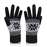 VENI MASEE Kerstmis Lover Snowprint Keep Warm Iphone Touch Screen handschoenen, 3005_damen Schwarz, 20cm