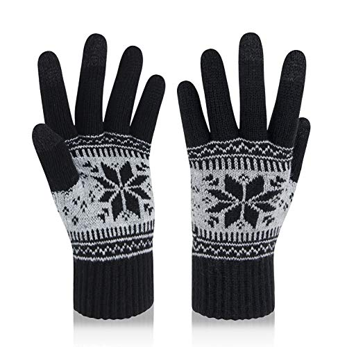 VENI MASEE Kerstmis Lover Snowprint Keep Warm Iphone Touch Screen handschoenen, 3005_damen Schwarz, 20cm