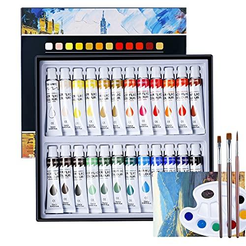 Invdely Colori per Bambini Set 24 Tubetti Colori Acrilici Tempera da 12ml, Tempere per Dipingere Alta Pigmentazione Kit Disegno con Pennelli Tela Tavolozza Colori per Pittura su Muro Tela Legno Carta