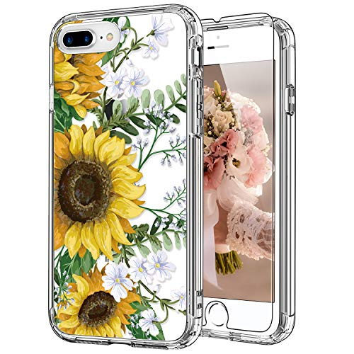 ICEDIO iPhone 8 Plus Case with Screen Protector,iPhone 7 Plus Case Floral Designs for Girls Women,Shockproof Protective Phone Case for iPhone 8 Plus/iPhone 7 Plus Blooming Sunflowers