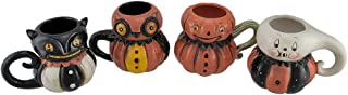 Pumpkin Peeps 4 Piece Set of Vintage Style Halloween Ceramic Mugs