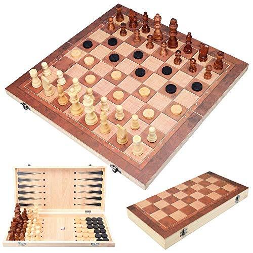 Juego de ajedrez 3 IN1 Juego de tablero de ajedrez plegable de madera portátil y verificadores de backgammon con piezas de ajedrez y estuche portátil para adultos portátiles Juegos de niños Trablos Jz