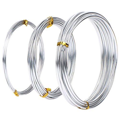 Satinior Assortiti Formato Filo Alluminio, 1 mm, 2 mm e 3 mm di Diametro, 5 Metri Ciascuno, Colore Argento, 3 Pezzi