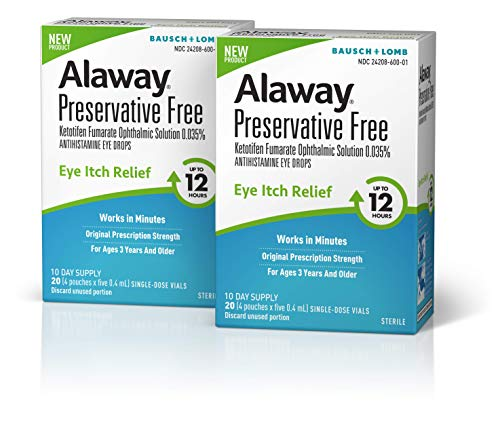 Alaway Allergy Eye Drops, Preservative Free Antihistamine Eye Drop for up to 12 Hours of Dry Eye and Eye Itch Relief, 20 Single-Dose Vials (Pack of 2)