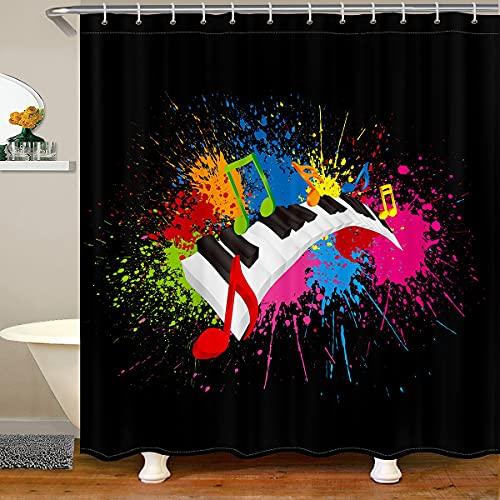 Loussiesd Klavier Duschvorhang 180x200cm Kinder Musik Thema Wasserdicht für Jungen Jugendliche Musiknote Instrument bunt Tie Dye Stoff Duschvorhang Textil Dekor