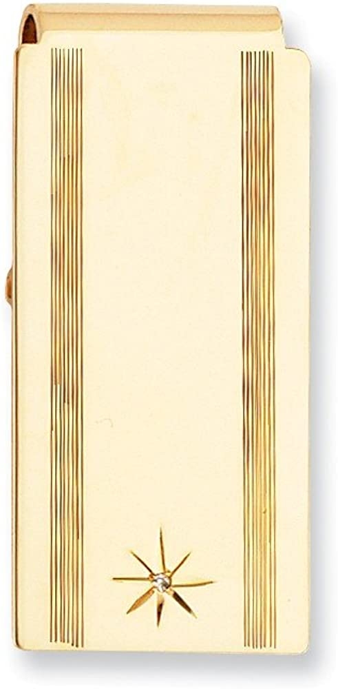 Sonia Jewels Gold-Plated Star Cut .001ct Diamond Hinged Slim Business Credit Card Holder Money Clip - 50mm x 25mm