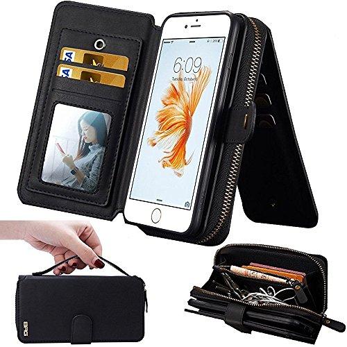 iPhone 7Plus/ 8Plus Womens Case,iPhone 7 Plus/8 Plus Wallet Case,Zipper Detachable Magnetic12 Card Slots Card Slots Money Pocket Clutch Cover Zipper Wallet Purse Case iPhone 7 Plus/8 Plus (Black)