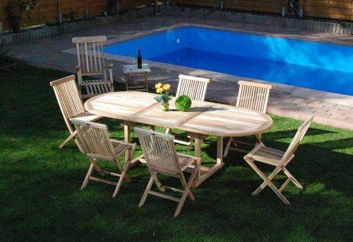 SAM® Teak-Holz Gartengruppe, Gartenmöbel XL 9 teilig, bestehend aus 6 x Klappstuhl + 1 x Deckchair + 1 x Gartenliege + 1 x Beistelltisch [521627]