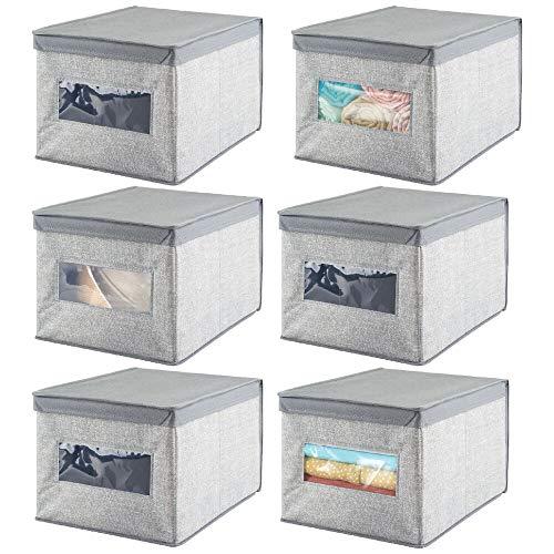 mDesign Juego de 6 cajas de almacenaje apilables con ventana para el armario y el dormitorio – Cajas organizadoras grandes con tapa – Organizador de ropa de fibra sintética – gris