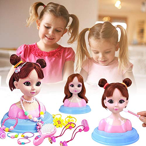 Ablerfly My First Makeup Set,Make-up Frisierkopf Spielzeugset,Frisierkopf Schminkkopf Super Model mit Kosmetik,Frisierpuppe,für Kinder,Vielen Zubehör für Mädchen 3 Jahre alt elegant