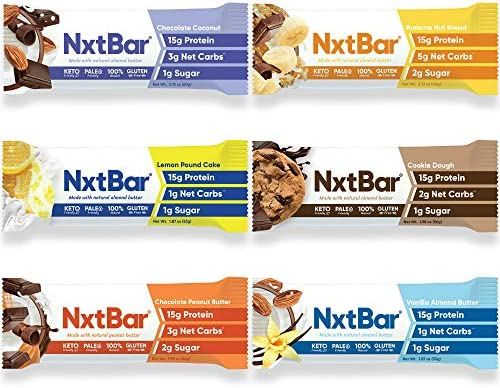 NxtBar Protein Bar Variety Pack Keto Paleo Friendly Low Carb Low Sugar Low Calorie Bars Keto product image