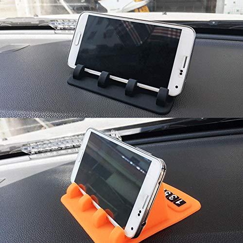 ZXCVBNM Auto Ornament Anti-Rutsch-Matte Mit Handynummer Silikonhalter Dekoration rutschfeste Pad Armaturenbrett Für GPS Handy 12x11 cm, Blau