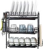 Scolapiatti Rack Scarico della Cucina Rack di stoccaggio delle Famiglie Stabile Durevole da tavola stendino Tabella Drenaggio Dispositivo Rack di drenaggio (Color : Black, Size : 56 * 47 * 23cm)