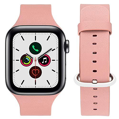 iBazal Bands Compatibel met iwatch Series 4 Bandjes 44mm 42mm Serie 3 2 1 Lederen Horloge Armbanden Horlogebanden Mens Jongens Womens Dames Meisjes 42mm/44mm Leer - Alles-In-Één Roze