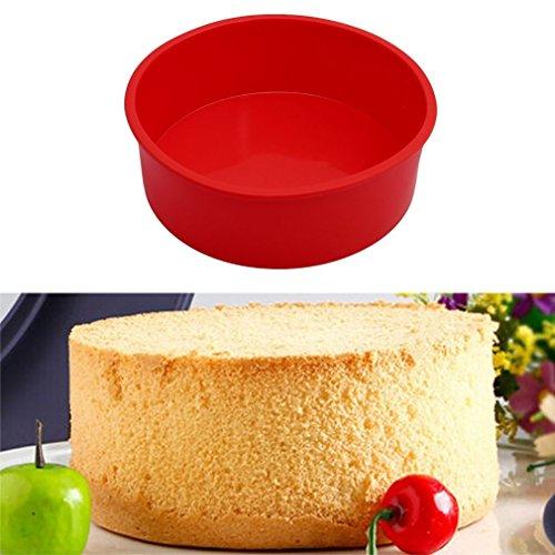 TO_GOO Moule à gâteau rond en silicone souple en silicone, 1pcs, rouge, 15cm
