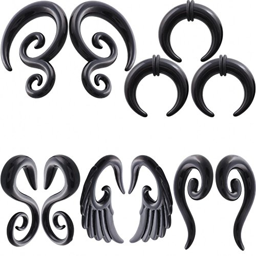 IPINK-5 Pairs Acrylic Spiral Snail Taper Plugs Tunnel Ear Stretcher Expander Kit Plugs 14-00 Gauges (5 Pairs of 6mm(2G))