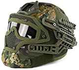 H World Shopping Tactical Protective Helmet Full Face Mask Googgles G4 System Airsoft Paintball Camo Color (DW)