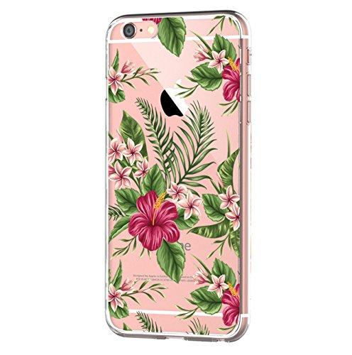 Kompatibel mit iPhone 6s/6 Hülle, iPhone 6S Schutzhülle Durchsichtig Silikon Silikonhülle Transparent TPU Bumper Schutz Handy Hülle Handytasche Handyhülle Schale Case Cover für iPhone 6 6S (Blume3)